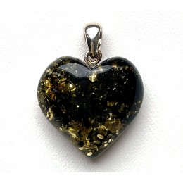 Genuine Green Baltic Amber Heart Pendant 3,5 g.
