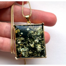 Green color Baltic Amber Pendant in Gold Plated Silver