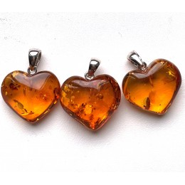 Lot of 3 Baltic Amber Hearts Silver Pendants