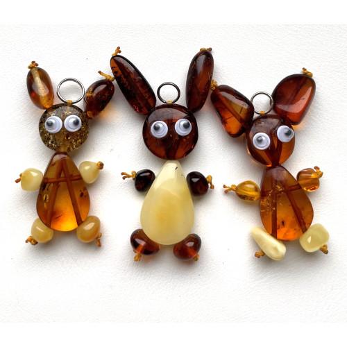 Lot of 3 Bunny Amber Pendants, Baltic Amber Children Pendants