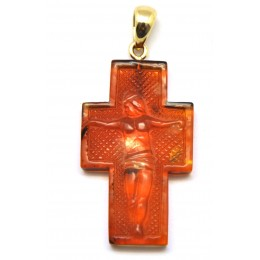 Cross shape cognac Baltic amber gold pendant