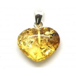 Small heart shape Baltic amber lemon pendant