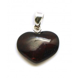 Small heart shape Baltic amber cherry pendant
