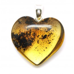 Green heart shape Baltic amber  pendant