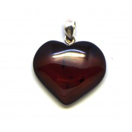 Cherry heart shape Baltic amber pendant
