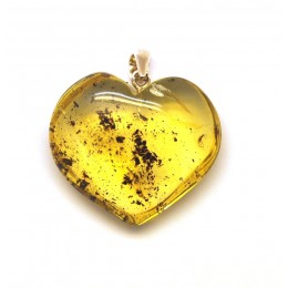 Pendants heart shape baltic amber pendant with insect mozeypictures Gallery