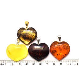 Lot of 4  Baltic amber heart shape pendants