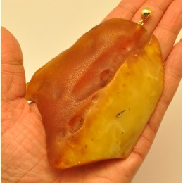 Large raw  Baltic amber pendant 75 g .