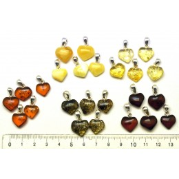 Lot of 25  Baltic amber heart shape pendants