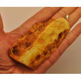 Large raw  Baltic amber pendant 36 g.
