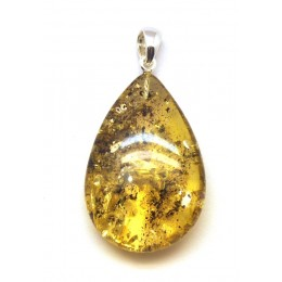 Green Baltic amber  drop pendant