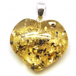 Green Baltic amber  heart pendant