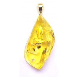 Big lemon color Baltic amber pendant