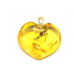 Lemon heart shape Baltic amber pendant 10 g.
