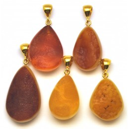 Lot of 5 raw  Baltic amber pendants