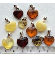 10 Baltic amber heart shape pendants