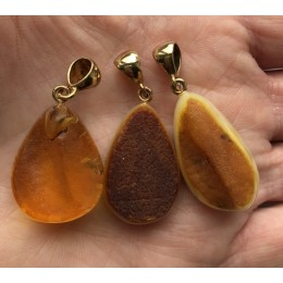 Lot of 3 raw  Baltic amber pendants