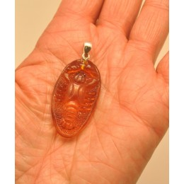 Hand carved amber pendant of crawfish