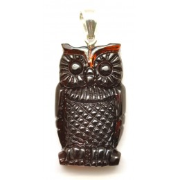 Hand carved Baltic amber owl pendant