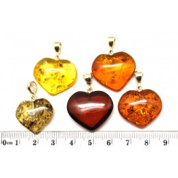 Lot of 5  Baltic amber heart shape pendants