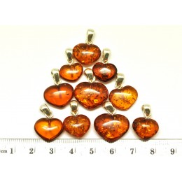 Lot of 10 cognac Baltic amber heart shape pendants