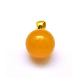 Baltic amber antique color round pendant 15 mm