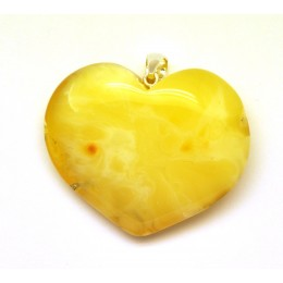 Big heart shape Baltic amber pendant 19 g.