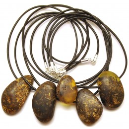 Lot of 5 raw healing Baltic amber pendants with leather