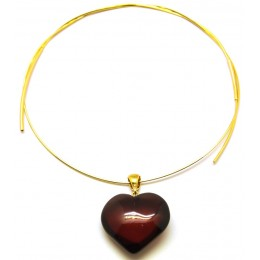 Baltic amber heart pendant with chain