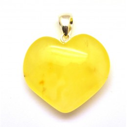 Heart shape Baltic amber pendant