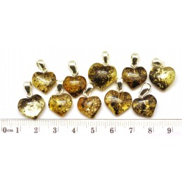 Lot of 10 green Baltic amber heart shape pendants