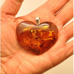 Large heart shape Baltic amber pendant