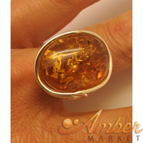 Cognac  color  amber ring