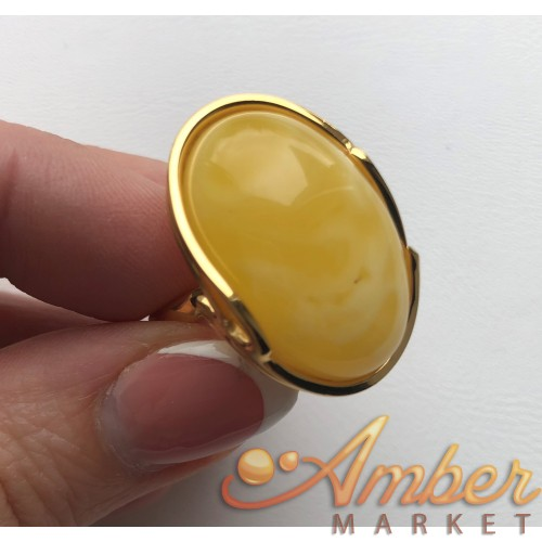 Yellow color Baltic amber ring