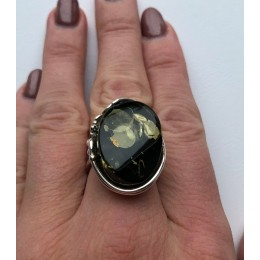Green color Baltic amber ring