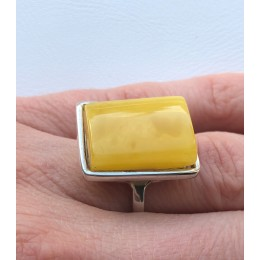 YELLOW Color Genuine Baltic Amber ADJUSTABLE Silver Ring