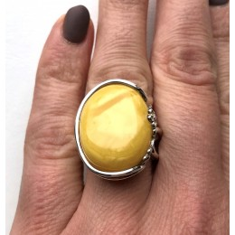 YELLOW Genuine Baltic Amber ADJUSTABLE Ring 10g