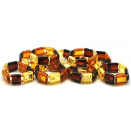 Lot of 9 multicolor  Baltic amber elastic rings