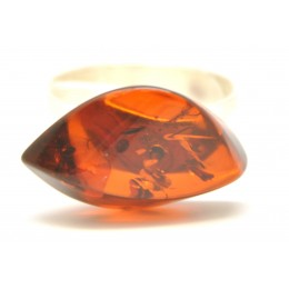 Cherry color Baltic amber ring