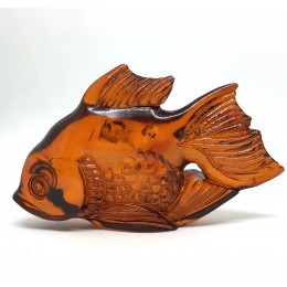 Carved Natural Amber Fish Figurine Handmade