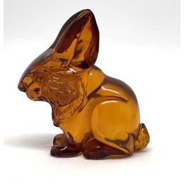 Carved Natural Amber Rabbit Figurine Handmade 6 g