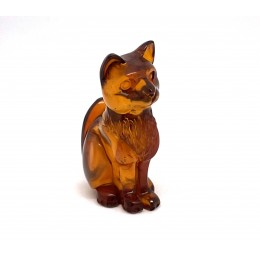 Hand carved Baltic amber figure of cat 4.9 g