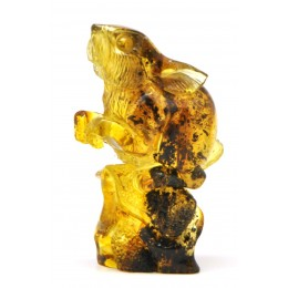 Hand carved Baltic amber figure of rabbit