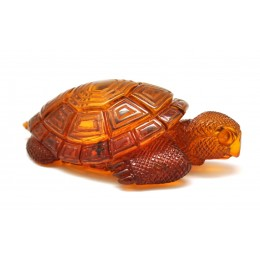 Hand carved Baltic amber figure of turtle