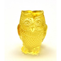 Lemon hand carved Baltic amber figurine of owl