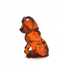 Hand carved Baltic amber figurine of dog