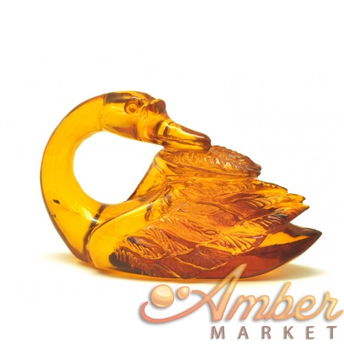 Hand carved Baltic amber figure of swan