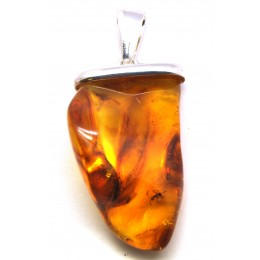 Natural shape Baltic amber pendant with insect