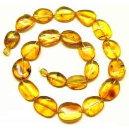 Big beads Baltic amber necklace with insects