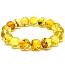 Round beads Baltic amber bracelet with insects